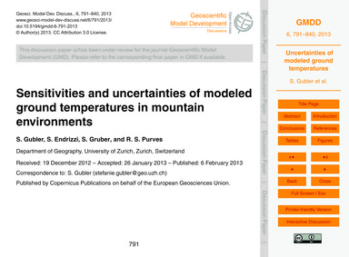 Sensitivities and Uncertainties of Model... by Gubler, S.