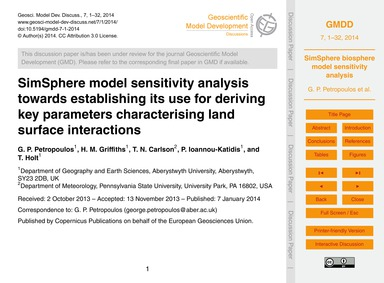 Simsphere Model Sensitivity Analysis Tow... by Petropoulos, G. P.