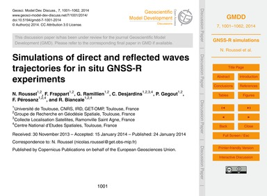 Simulations of Direct and Reflected Wave... by Roussel, N.