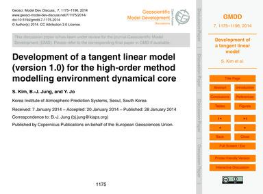 Development of a Tangent Linear Model (V... by Kim, S.