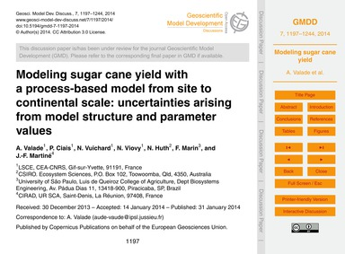 Modeling Sugar Cane Yield with a Process... by Valade, A.