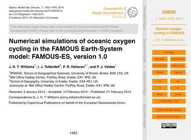 Numerical Simulations of Oceanic Oxygen ... by Williams, J. H. T.