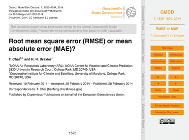 Root Mean Square Error (Rmse) or Mean Ab... by Chai, T.