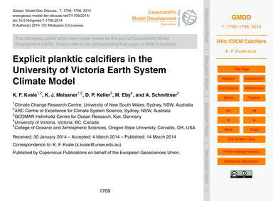 Explicit Planktic Calcifiers in the Univ... by Kvale, K. F.