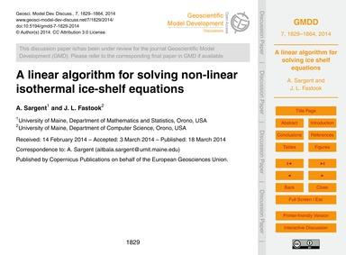 A Linear Algorithm for Solving Non-linea... by Sargent, A.
