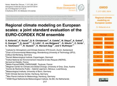 Regional Climate Modeling on European Sc... by Kotlarski, S.