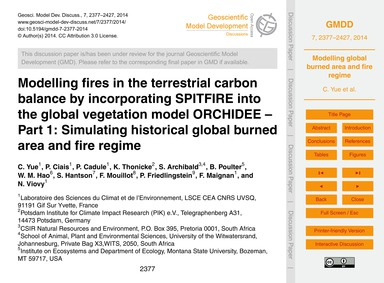 Modelling Fires in the Terrestrial Carbo... by Yue, C.