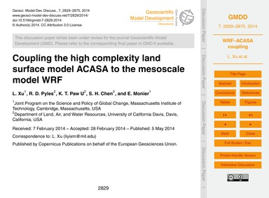 Coupling the High Complexity Land Surfac... by Xu, L.