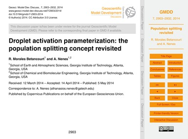 Droplet Activation Parameterization: the... by Morales Betancourt, R.