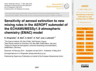 Sensitivity of Aerosol Extinction to New... by Klingmüller, K.
