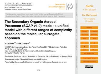 The Secondary Organic Aerosol Processor ... by Couvidat, F.