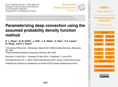 Parameterizing Deep Convection Using the... by Storer, R. L.