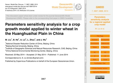 Parameters Sensitivity Analysis for A~cr... by Liu, M.
