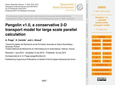 Pangolin V1.0, a Conservative 2-d Transp... by Praga, A.