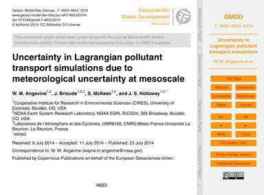 Uncertainty in Lagrangian Pollutant Tran... by Angevine, W. M.
