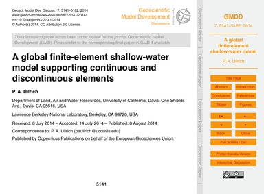 A Global Finite-element Shallow-water Mo... by Ullrich, P. A.