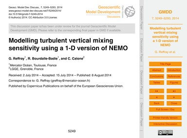 Modelling Turbulent Vertical Mixing Sens... by Reffray, G.