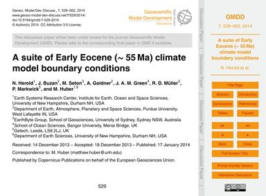 A Suite of Early Eocene (~55 Ma) Climate... by Herold, N.
