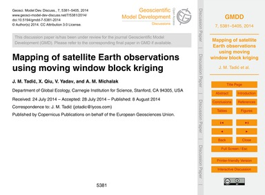 Mapping of Satellite Earth Observations ... by Tadić, J. M.