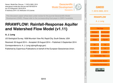 Rrawflow: Rainfall-response Aquifer and ... by Long, A. J.