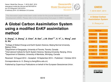 A Global Carbon Assimilation System Usin... by Zhang, S.