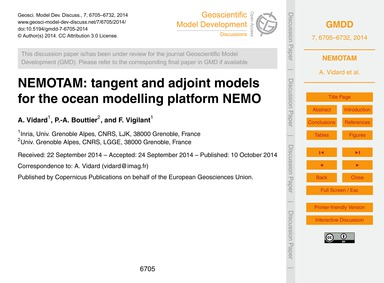 Nemotam: Tangent and Adjoint Models for ... by Vidard, A.