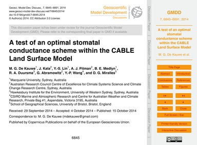 A Test of an Optimal Stomatal Conductanc... by De Kauwe, M. G.