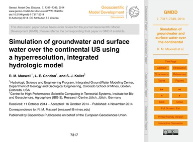 Simulation of Groundwater and Surface Wa... by Maxwell, R. M.