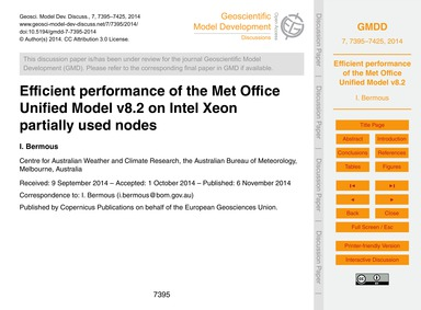 Efficient Performance of the Met Office ... by Bermous, I.