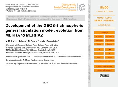 Development of the Geos-5 Atmospheric Ge... by Molod, A.
