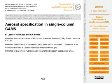 Aerosol Specification in Single-column C... by Lebassi-habtezion, B.