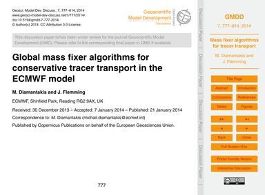 Global Mass Fixer Algorithms for Conserv... by Diamantakis, M.