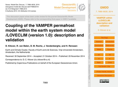 Coupling of the Vamper Permafrost Model ... by Kitover, D.