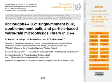 Libcloudph++ 0.2: Single-moment Bulk, Do... by Arabas, S.