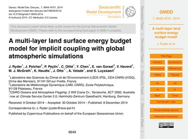 A Multi-layer Land Surface Energy Budget... by Ryder, J.