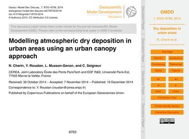 Modelling Atmospheric Dry Deposition in ... by Cherin, N.