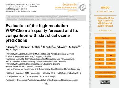 Evaluation of the High Resolution Wrf-ch... by Žabkar, R.