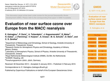 Evaluation of Near Surface Ozone Over Eu... by Katragkou, E.