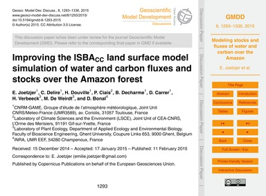 Improving the IsbaCc Land Surface Model ... by Joetzjer, E.