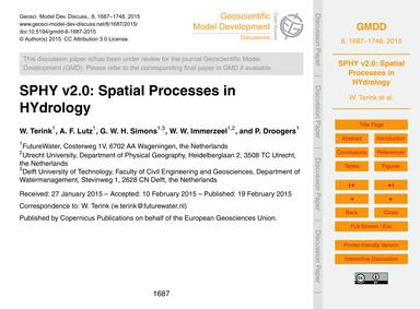 Sphy V2.0: Spatial Processes in Hydrolog... by Terink, W.