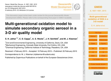 Multi-generational Oxidation Model to Si... by Jathar, S. H.
