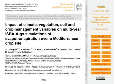 Impact of Climate, Vegetation, Soil and ... by Garrigues, S.
