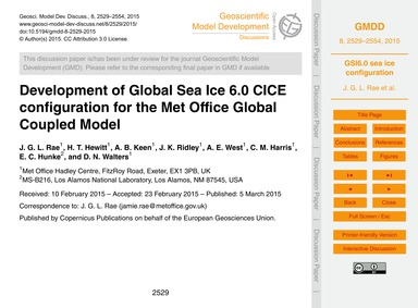 Development of Global Sea Ice 6.0 Cice C... by Rae, J. G. L.