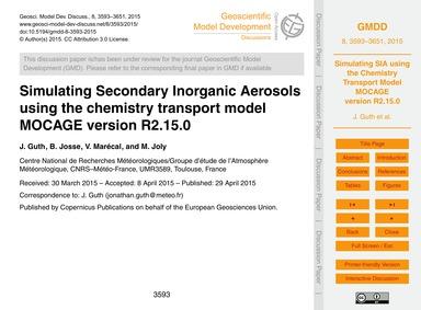 Simulating Secondary Inorganic Aerosols ... by Guth, J.