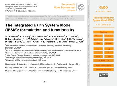 The Integrated Earth System Model (Iesm)... by Collins, W. D.