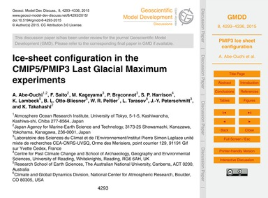 Ice-sheet Configuration in the Cmip5/Pmi... by Abe-ouchi, A.