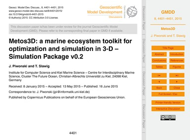 Metos3D: a Marine Ecosystem Toolkit for ... by Piwonski, J.