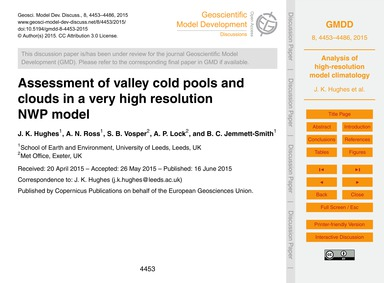 Assessment of Valley Cold Pools and Clou... by Hughes, J. K.