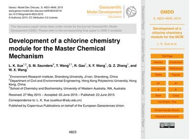 Development of a Chlorine Chemistry Modu... by Xue, L. K.
