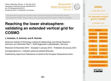 Reaching the Lower Stratosphere: Validat... by Eckstein, J.